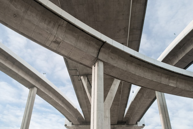 Architecture lines under the bridge, elevated expressway,the curve of bridge in bangkok, thailand.