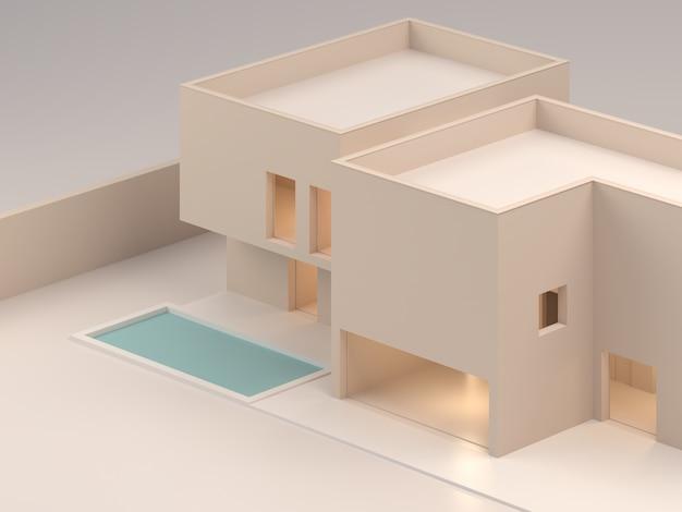 建築モデル不動産や建設製品の販売のための家の分離モデル住宅建築スタジオモデルの3dレンダリングを設計する