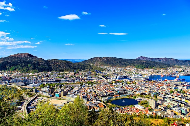 Architecture and nature of the norwegian city of bergen