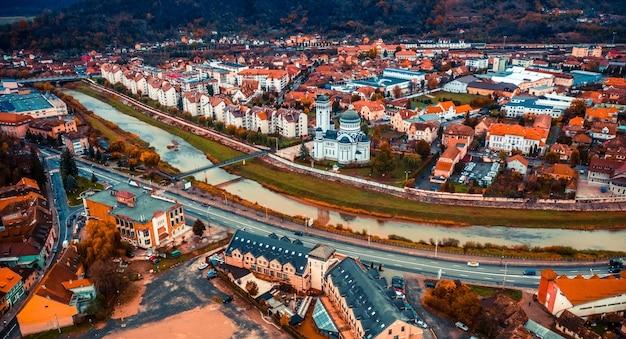上から見たルーマニアのシギショアラの建築