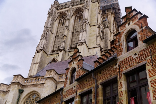 Architecture of old historical buildings on the streets of antwerp belgium
