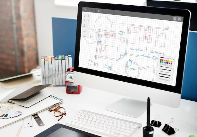建築計画設計図レイアウト作業コンセプト