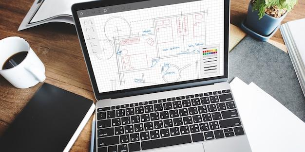 Concetto di lavoro del layout del progetto del piano di architettura