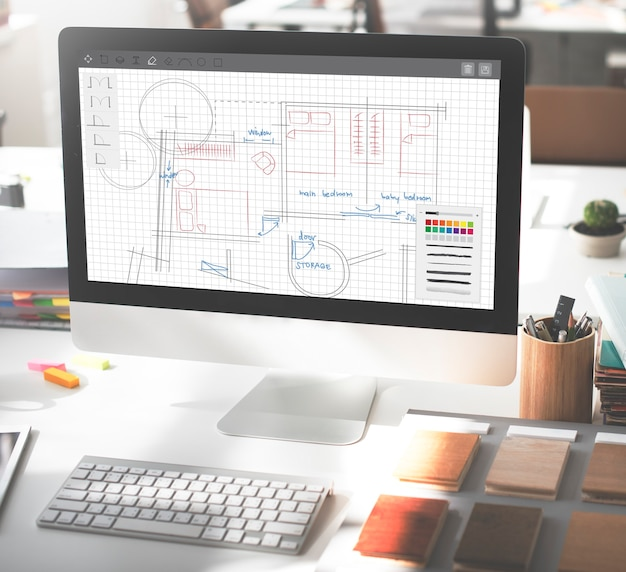 Architecture plan blueprint layout work concept