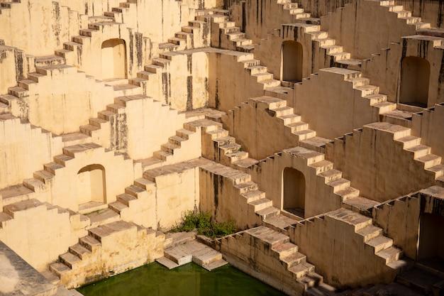 Architecture of stairs at abhaneri baori stepwell in jaipur rajasthan india.