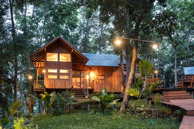 Architecture wooden house in rainforest