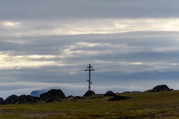 Арктический пейзаж в летнее время. архипелаг земля франца юзефа. мыс флора, остров гукера.