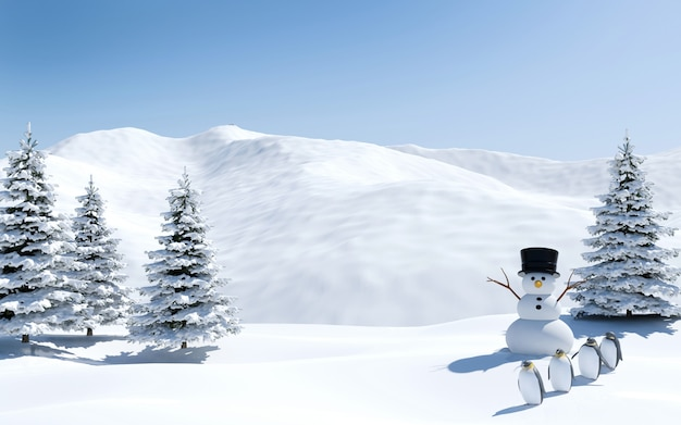 Arctic landscape, snow field with snowman and penguin birds in christmas holiday, north pole, 3d rendering