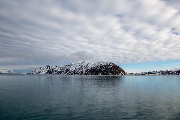 Arctic landscape with beautiful lighting in svalbard