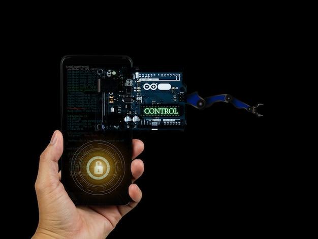 Arduino контролирует широкую фотографию элемента с деталями инфографики