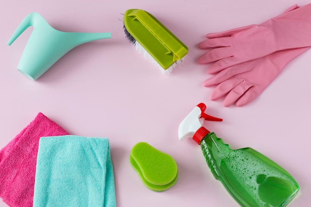 Are cloths, disposable gloves, a brush, a watering can, detergent and a sponge.