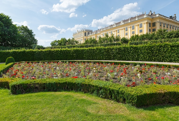 Area before schonbrunn palace (build 16-17 century) with blossoming flowers on lawn. vienna, austria.