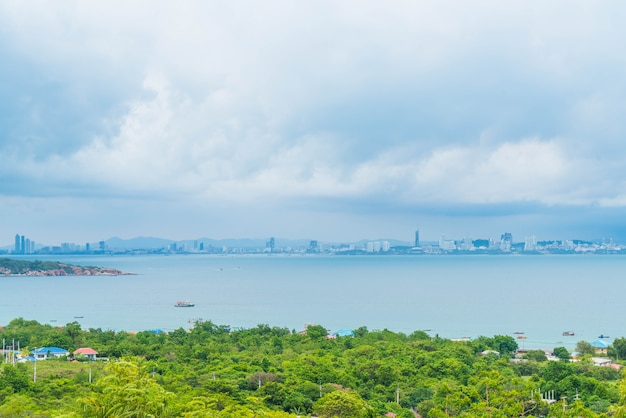 Area view with sea and pattaya city.