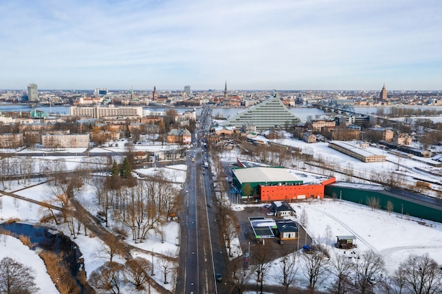 Areal view of riga, latvia in winter