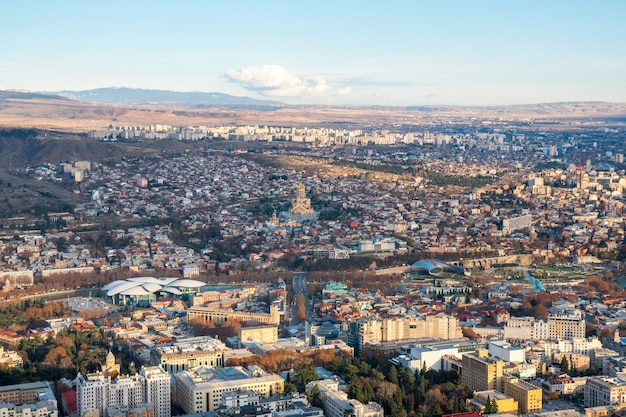 Areal view of tbilisi city. beautiful place to travel. georgia.