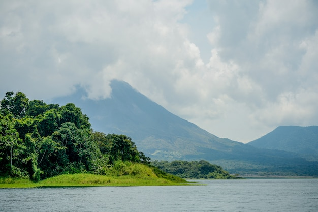 Arenal volcano and lake in costa rica.