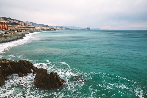 Arenzano city and coast of the sea