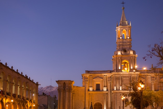 Arequipa, peru: main square and cathedral at dusk