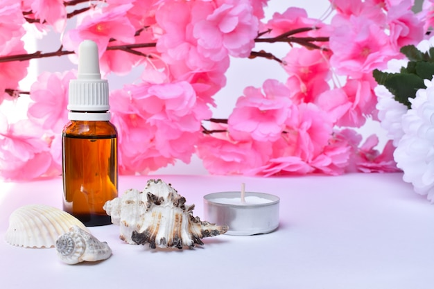Argan oil with flowers