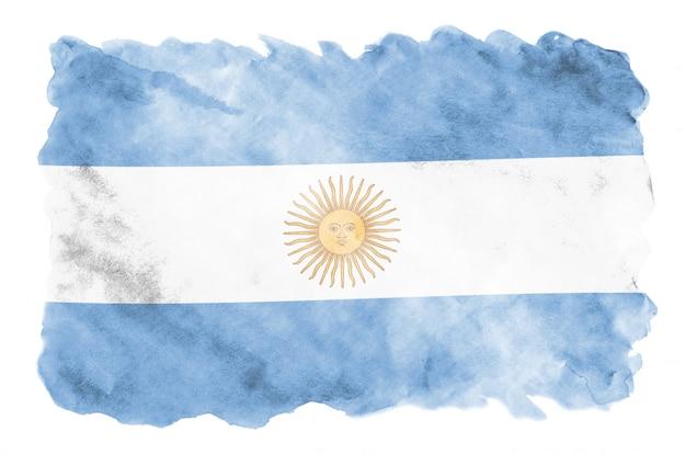 Флаг аргентины изображен в жидком стиле акварели на белом