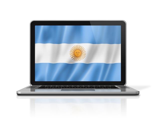Argentina flag on laptop screen isolated on white. 3d illustration render.