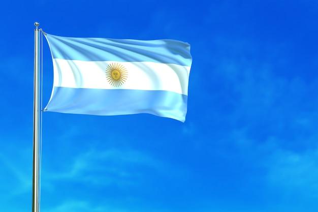 Флаг аргентины на фоне голубого неба