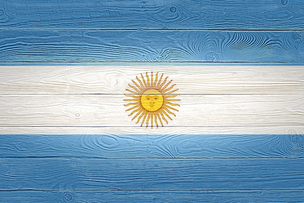 Argentina flag painted on old wood plank background