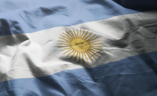 Argentina flag rumpled close up