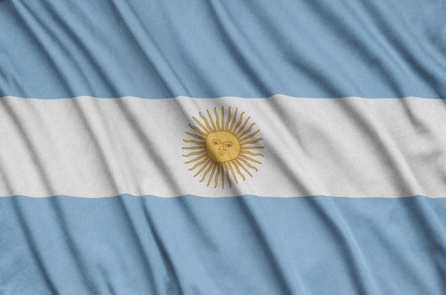 Флаг аргентины со многими складками.