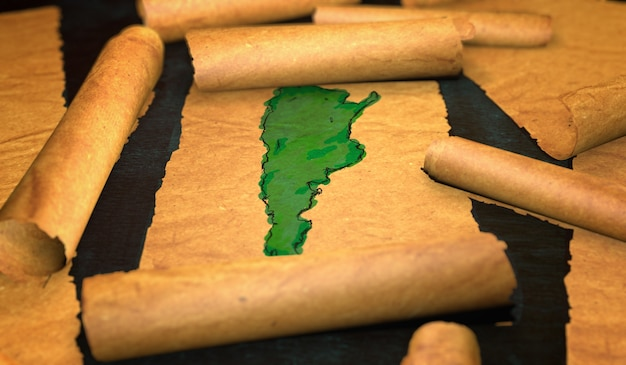 Argentina map painting unfolding old paper scroll 3d