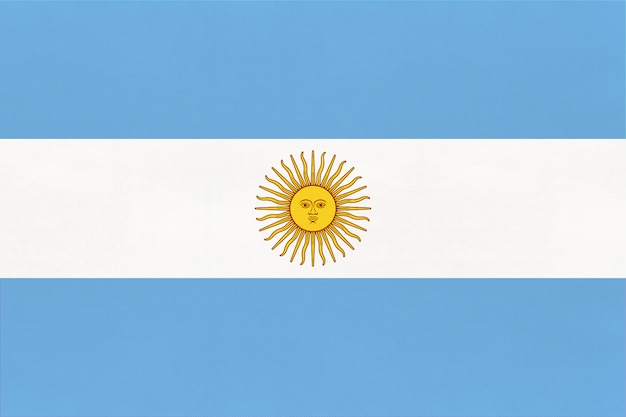 Argentina national fabric flag, textile background. symbol of international world south america country.