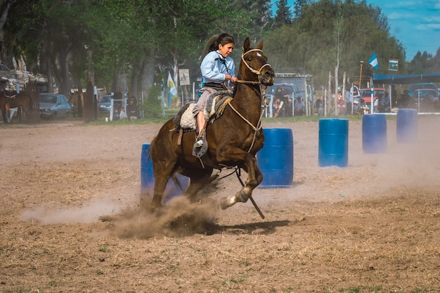 Argentine gaucho in creole skill games in patagonia argentina.