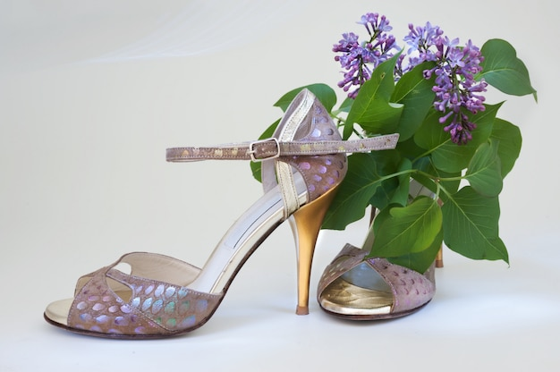 Argentine tango in spring, pair of high heel shoes and lilac.