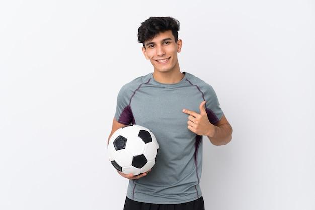 Аргентинский футболист человек на белом фоне с удивленным выражением лица