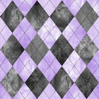 アーガイルのシームレスチェック柄。水彩手描き黒灰色紫テクスチャ背景。水彩のダイヤモンドは背景を形作ります。布のデザイン、テキスタイル、ファブリック、壁紙、ラッピング、タイルの印刷。