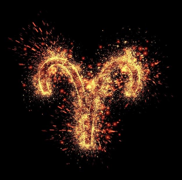 牡羊座のシンボルの火花は黒に分離されています