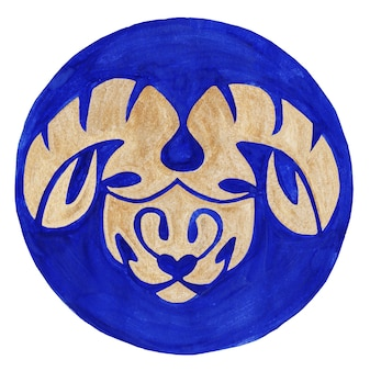 Aries zodiac symbol watercolor illustrationthe zodiac icon astrology raster image aries