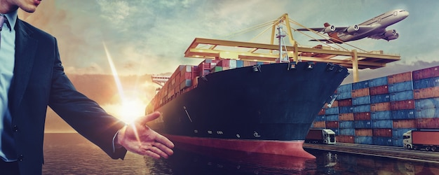 Ariport to seaport cargo logistics trrandsportation in container yard 3d render and illustration