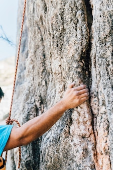 Arm view of rock climber