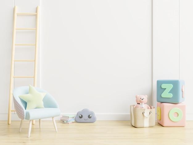 Кресло и игрушки на белой стене