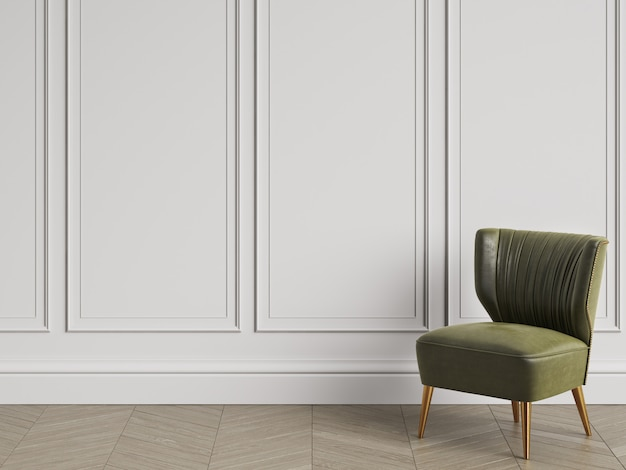 Armchair in art deco style in classic interior with copy space. white walls with mouldings. floor parquet herringbone. 3d rendering