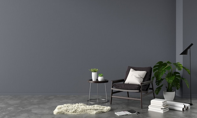 Armchair in black living room with copy space