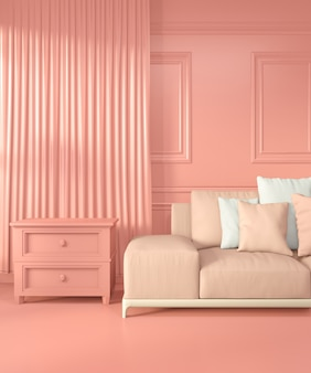 Armchair and decoration room interior color living coral style, 3d rendering
