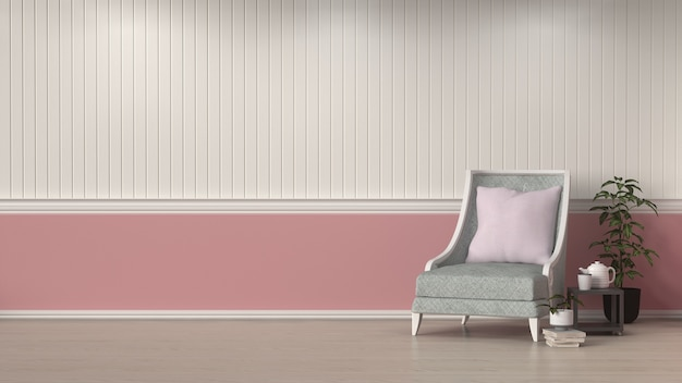 Armchair in front of white and pink wall interior design  room interior background