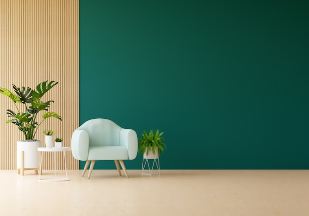 Armchair in green living room and plants