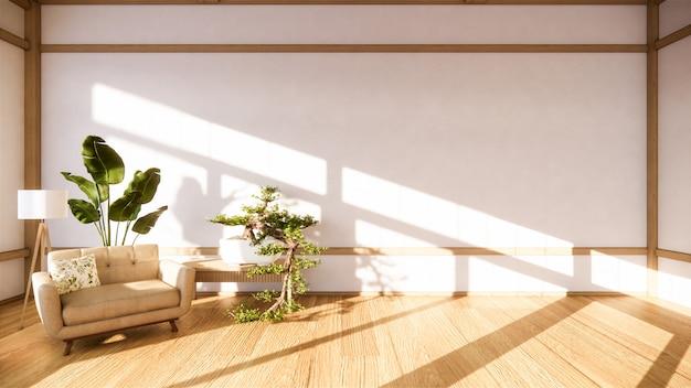 방 일본의 안락 의자와 흰색 배경은 편집을위한 창을 제공합니다.