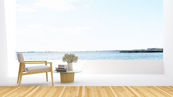 Armchair on terrace and lake view in hotel - 3D Rendering