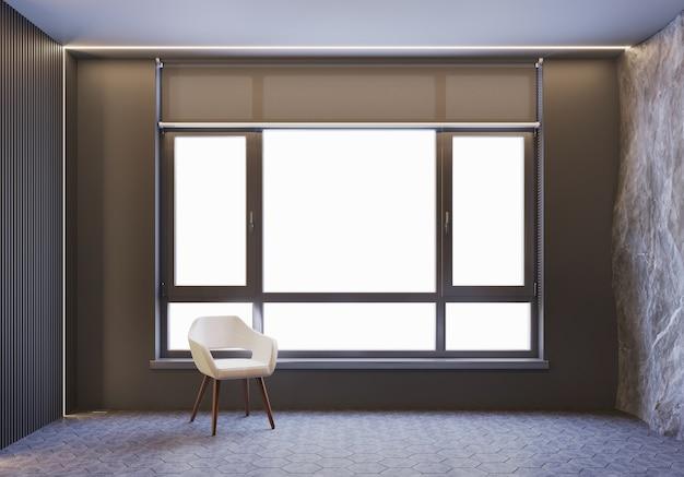 Armchair with window light, loft style with daylight Premium Photo