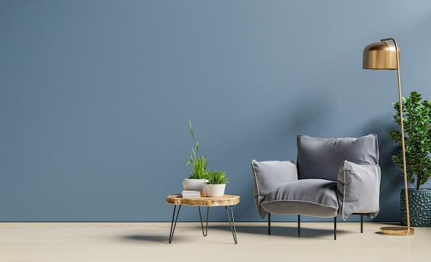 Armchair and wooden table in living room interior with plant,dark blue wall.3d rendering