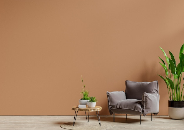 Armchair and wooden table in living room interior with plant,dark brown wall.3d rendering